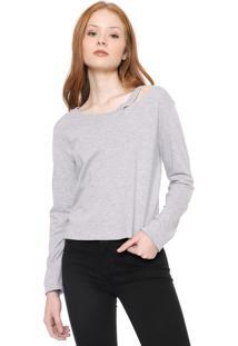 Blusa Calvin Klein Jeans Recorte Cinza