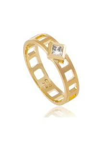 Anel Finestre Amarelo C/ Diamante Branco