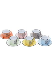 Jogo De Xícaras De Chá 12Pçs Porcelana Words Coloridas 220Ml Bon Gourmet