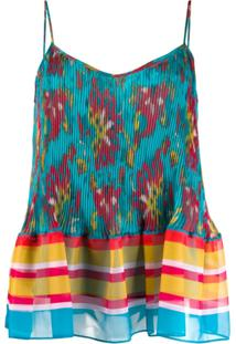Twin-Set Regata Peplum Com Estampa - Azul