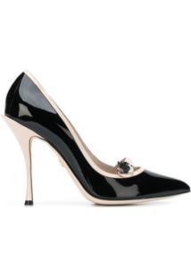 Dolce & Gabbana Scarpin De Couro Com Contraste - Preto