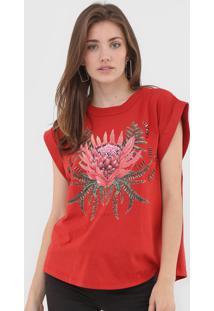 Camiseta Colcci Floral Vermelha - Kanui