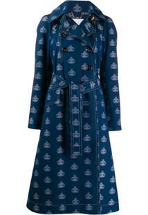 Chloé Trench Coat Com Estampa De Emblema - Azul