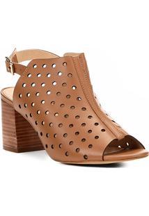 Sandália Couro Shoestock Salto Grosso Lasercut Feminina - Feminino-Caramelo