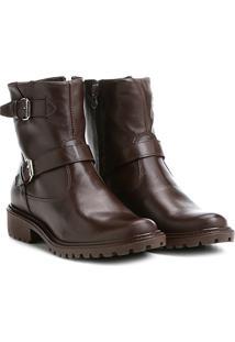 Bota Biker Shoestock Couro Tratorada Feminina - Feminino-Café