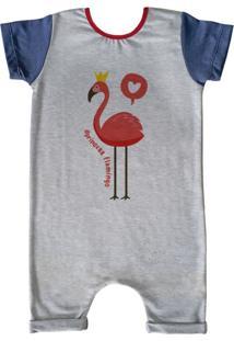 Pijama Curto Comfy Flamingo Cinza