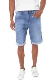 Bermuda Jeans Biotipo Reta Desgastes Azul