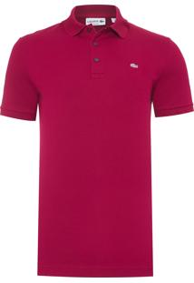Polo Masculina Slim Fit Petit Piqué Stretch - Vermelho