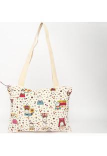 Bolsa Lateral- Creme & Rosa Escuro- 26,5X34X1Cmsonhart