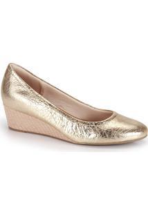 909e05b27 Passarela. Sapato Usaflex Passarela Feminino Salto Anabela Dourado Conforto