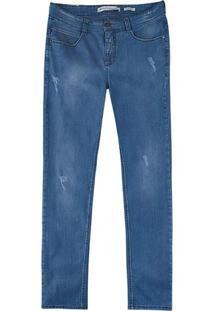 Calça Masculina Super Skinny Em Jeans Com Puídos