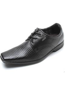 Sapato Social Couro Pegada Textura Preto