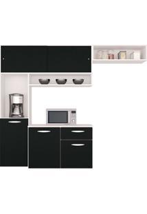 Cozinha Compacta Suspensa C/ Balcão Thais Brilho-Poquema - Branco / Preto