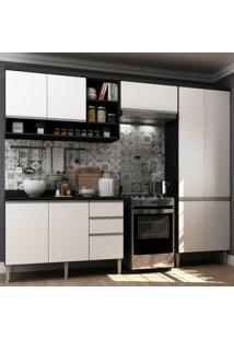 Cozinha Completa Com 4 Peças Suíça Multimóveis Preto/Branco