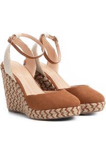Sandália Anabela Shoestock Espadrille Corda Feminina - Feminino-Caramelo