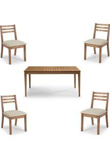 Conjunto Dubai Mesa + Cadeiras Assento Estofado - 60476 - Sun House