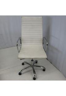Cadeira Office Outlet Estofada Alta Branca Aluminio - 1 - Sun House