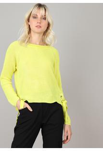 Suéter Feminino Em Tricô Com Amarração Amarelo Neon