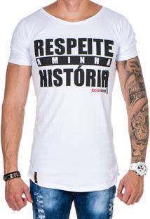 Camiseta Lucas Lunny Oversized Longline Respeite A Minha História Branca