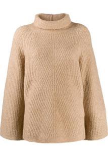 Theory Rollneck Cable Knit Sweater - Neutro