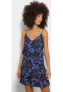 Vestido Coca-Coca Estampado Floral Feminino - Feminino-Preto+Azul