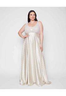 Vestido Almaria Plus Size Pianeta Longo Listrado B