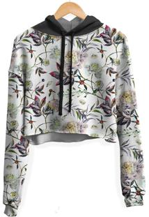 Blusa Cropped Moletom Feminina Over Fame Floral Aquarela