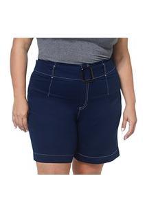 Bermuda Feminina Plus Size Com Cinto