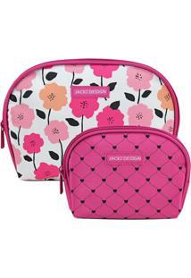 Kit De Nécessaires Floral- Rosa Escuro & Branca- 2Pçjacki Design