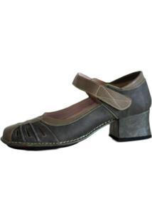 Sapato Boneca Salto Grosso Quadrado Estilo Retrô Vintage Verde