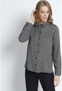 Camisa Floral- Preta & Branca- Intensintens