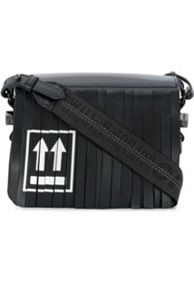 Off-White Fringed Flap Shoulder Bag - Preto