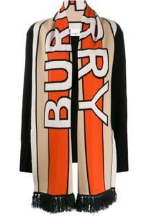 Burberry Cachecol Com Logo Oversized - Preto