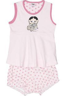 Short Doll Turma Da Monica ®- Rosa Claro & Rosa- Infevanilda