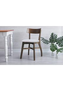 Cadeira Para Sala De Jantar Estofada Bella - Capuccino E Cinza Claro Tec. B200 - 44X51X82 Cm