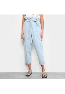 Calça Jeans Prega Light Blue Pantacourt Feminina - Feminino-Azul Claro