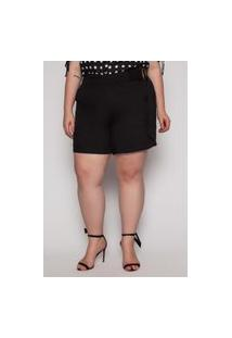 Shorts Almaria Plus Size Kayla Viseu Viscose Preto