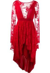 Aniye By Vestido Com Recorte De Renda - Vermelho