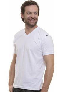 Camiseta Decote V Masculina - Masculino-Branco