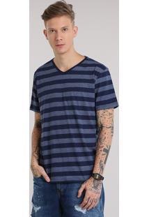 Camiseta Básica Listrada Azul Marinho