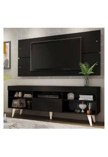 Rack Com Painel Para Tv Até 65 Polegadas Madesa Miami Com Pés Preto/Branco