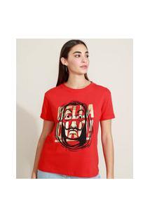 Blusa Feminina La Casa De Papel Com Foil Manga Curta Decote Redondo Vermelha