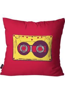 Capa De Almofada Pump Up Avulsa Mãºsica Vermelho Fita Cassete 45X45Cm - Vermelho - Dafiti