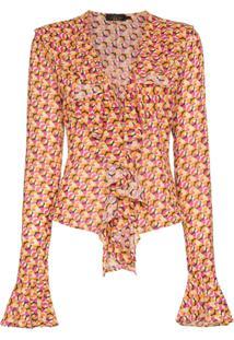 De La Vali Blusa 'Tangerine' - 003 Circle Print