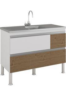 Gabinete Para Cozinha Prisma 86X114Cm Branco E Carvalho