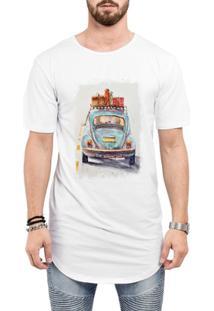Camiseta Criativa Urbana Long Line Oversized Fusca Azul Carro Antigo Clássico Viagem - Masculino-Branco
