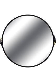 Espelho Fontenelle Couro Preto 75 Cm - 35732 - Sun House