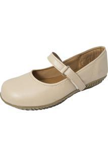 Sapato Sapatilha Boneca Fechado Confort Nude
