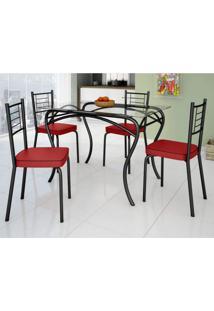 Conjunto De Mesa Tampo Vidro Lion Com 4 Cadeiras Juliana Art Panta Preto/Vermelho