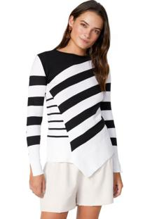 Suéter Listrado Barra Assimétrica